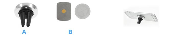 Shop4 - Magnetische Autohouder Ventilatierooster Zilver